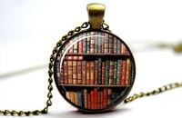 Vintage Books - Vintage Antique Bronze Tone Photo Glass Dome Necklace Pendant
