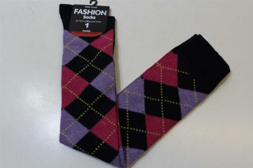 Brand New Ladies Party Gothic Argyle Diamond Pattern Over knee Socks Size 4-7