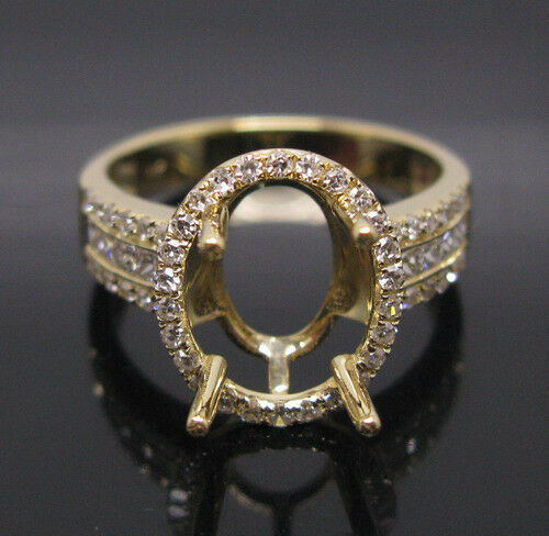GENUINE OVAL CUT SOLID 18K YELLOW gold NATURAL DIAMOND SETTING SEMI RING MOUNT