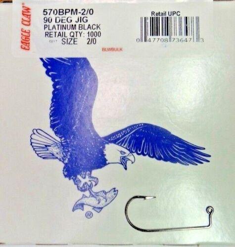 100 PACK EAGLE CLAW 90° ABERDEEN ROUND BEND JIG HOOKS-PLATINUM BLACK- -SIZE 2//0