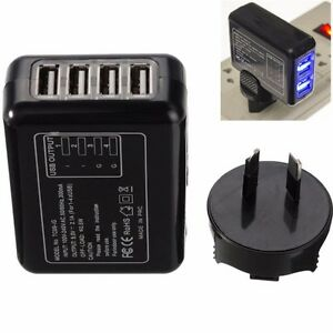 Black-4-USB-Port-AC-Power-Travel-Home-Wall-Charger-Adapter-With-AU-Plug