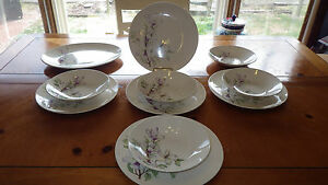 Vintage-Edwin-Knowles-Dinnerware-Set-White-Iris-Flower-Design-Dinner-Plates-Bowl