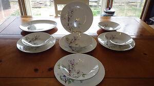 Vintage Edwin Knowles Dinnerware Set White Iris Flower Design Dinner Plates Bowl