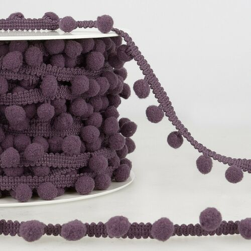 Violet Pom Pom Trim Sold per metre