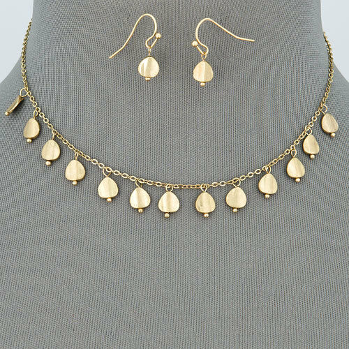 Gold Dainty Simple Designer Inspired Statement Necklace With Earrings