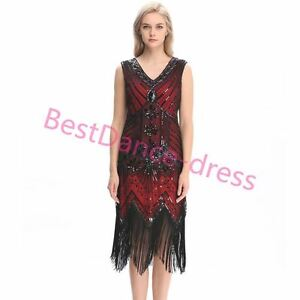 Image is loading US-Flapper-Dress-Great-Gatsby-Vintage-Sequin-Costume-  sc 1 st  eBay & US Flapper Dress Great Gatsby Vintage Sequin Costume 20s Elegant ...