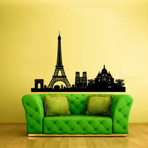 Wall-Vinyl-Sticker-Bedroom-Decal-Paris-France-Skyline-Town-City-Z2401