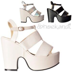46c3af1af2a Womens New Cut Out Sides Hologram Peep Toe Platform Mid Low Heel ...