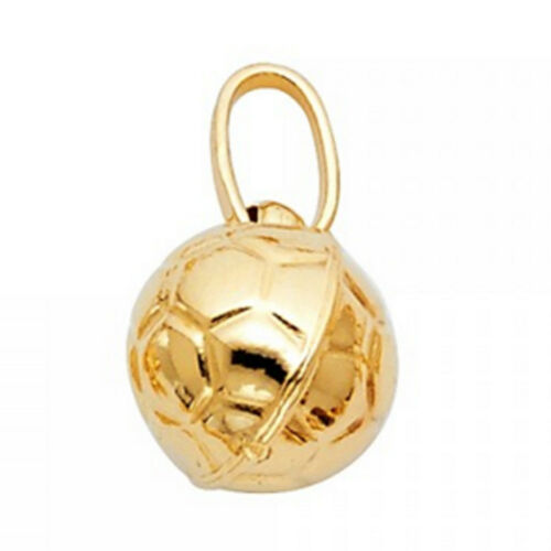 Unisex Sports Charm Solid 14K Yellow Gold Soccer Ball Pendant NO Chain Necklace