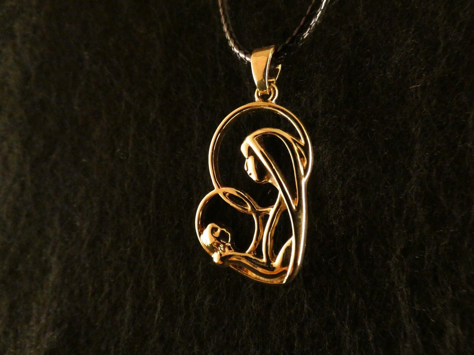 Anhänger 24 Karat gold Mutter Kind Muttertag Geschenk Halskette Chain