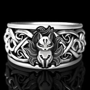 Punk-925-Silver-Fox-Ring-Women-Men-Wedding-Party-Gift-Jewelry-Size-5-12