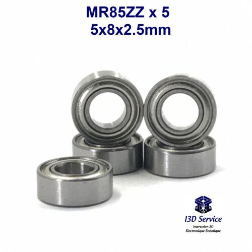 Lot de 5 roulements miniatures 5x8x2.5mm MR85ZZ