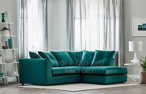 Peachy Details About New Roxie Plush Velvet 3 Seater Fabric Corner Sofa Teal Small Chaise Cheap Theyellowbook Wood Chair Design Ideas Theyellowbookinfo