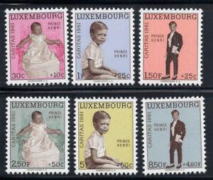 Lussemburgo 1961 MER. 649-654 post fresco 100% Caritas, principe Henri