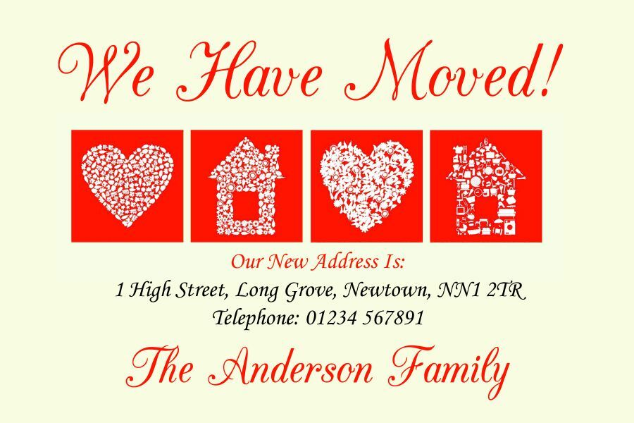Pale Yellow And Red New Home Change Of Address Moving House Cards