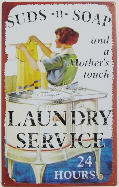 Mother's Laundry Service TIN SIGN metal vtg retro mom's room wall home decor OHW
