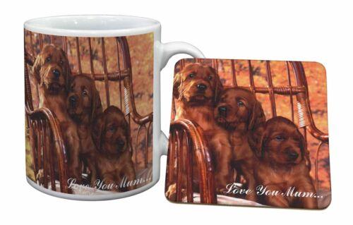 AD-RS53lymMC Irish Red Setter Puppies /'Love You Mum/' Mug+Coaster Christmas//Birt