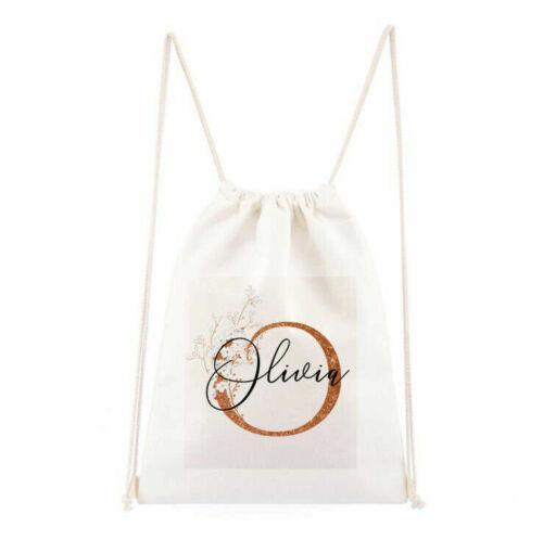 Personalised Initial Name Drawstring Bag Girls Boy PE Gym Christmas Kids Canvas