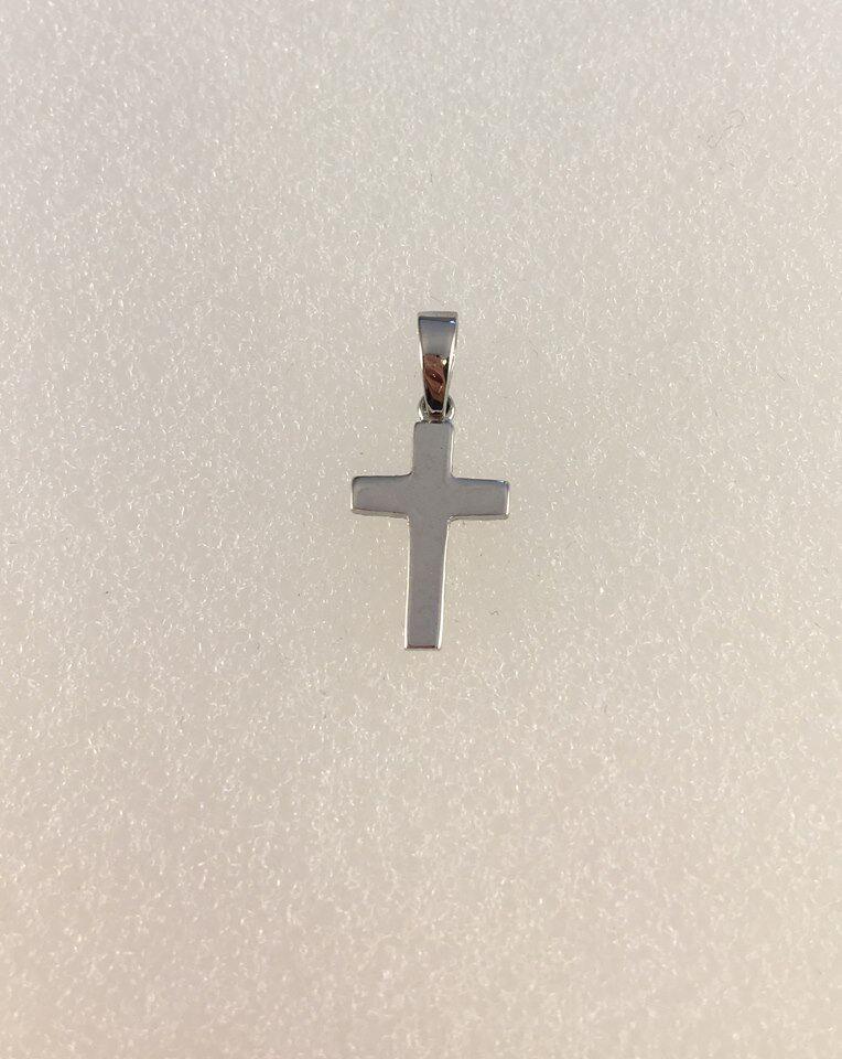 9ct White gold Plain Cross    Height 2cm    1g   NEW