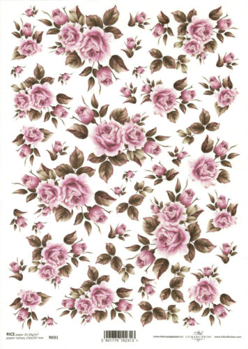 Scrapbooking A4 size ITD R031 Small Roses Rice Paper for Decoupage