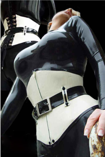 03b29ff819 100% Latex Rubber Gummi Corset 0.8mm Underbust With Belt Catsuit Suit Unique