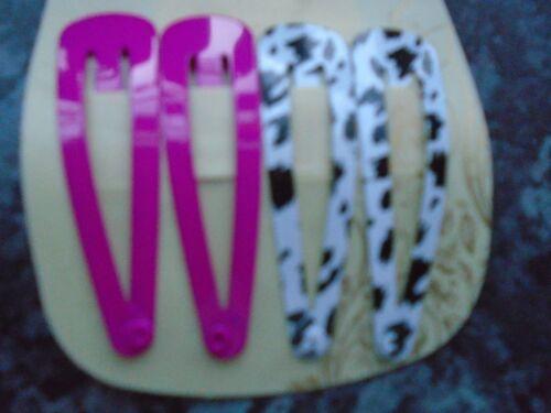 2 x pack 4 animal print hair bendies metal 4.8cm sleepies snap clips slides