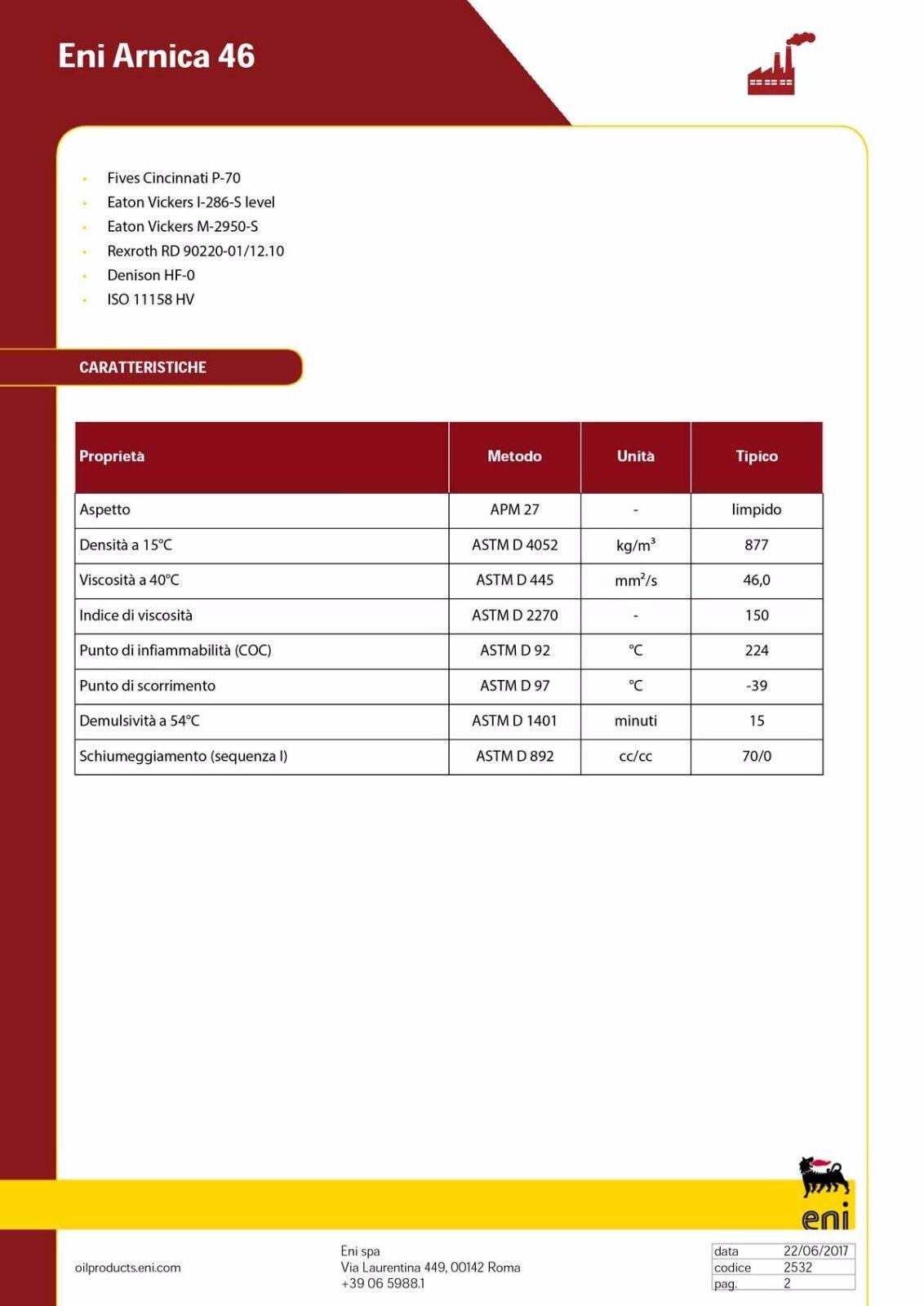 Huile Hydraulique Eni Arnica 68 PAR LT 20 haut (huile avec haut 20 indice de viscosité) 16e7b1
