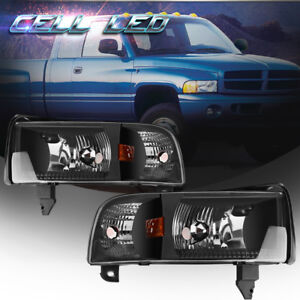 For-1994-2001-Dodge-Ram-1500-2500-3500-Pickup-Black-Headlights-Headlamp-Assembly