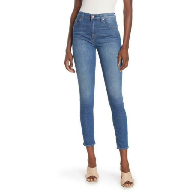 7 For All Mankind Womens Denim High Waist Ankle Skinny Jeans Sz 30 Faded For Sale Online Ebay