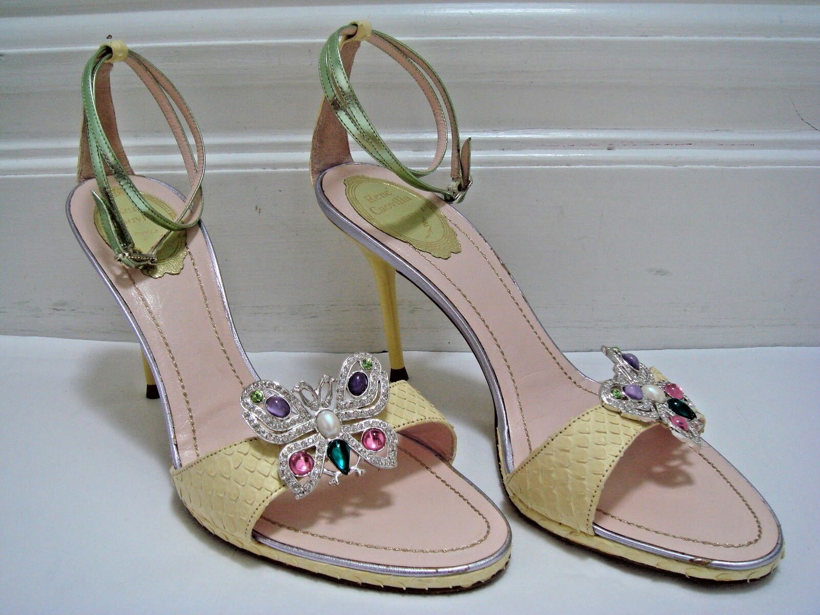 NEW RENE CAOVILLA  1050 python rhinestone butterfly heels sandals Italian 40 9.5