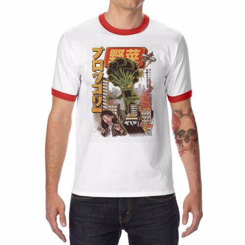 The Broccozilla Terror Funny Men/'s Ringer T-shirt Cotton O-Neck Short Sleeve Tee