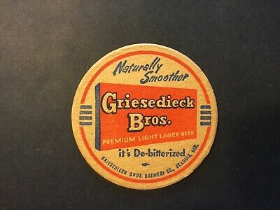 LIGHT LAGER BEER 3½ inch Coaster 1950s Missouri GRIESEDIECK BROS