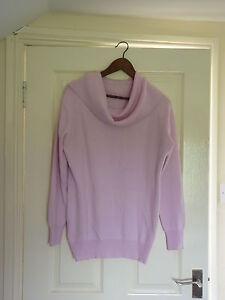 Ladies-Pink-Cashmere-Cowl-Neck-Jumper-Size-14