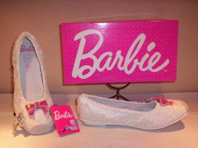 Barbie Scarpe Basse Ballerine eleganti cerimonia bimba Bambina tela Bianco  31 34 7fadfc9aabd