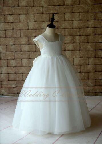 Flower Girl Dress Cap Sleeves Tulle Ball Gown Floor Length