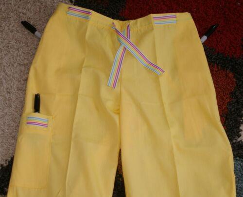 White Swan Drawstring Cargo Flare Scrub Pant W 2 side Pockets Sz Small Sty 5594