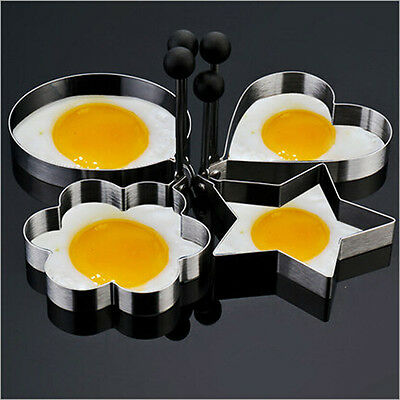 Creative 4PC Thick Stainless Steel Omelette Mold Control Rice Omelette Mold Love