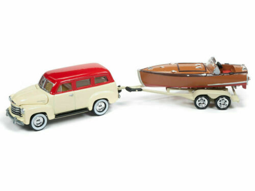 Wooden Boat Trailer Boot*RR* Johnny Lightning 1:64 1950 Chevy Suburban Creme