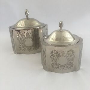 Details about Pair of International Silver Company Oval Etched Silver  Trinket Jewelry Box