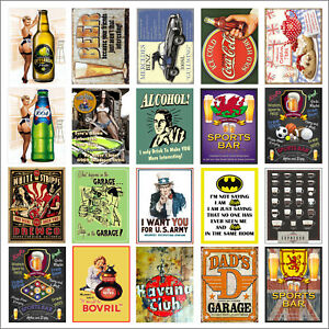Various Retro Tin Metal Novelty Replica Signs Home Bar Kitchen Man Cave Shed M26