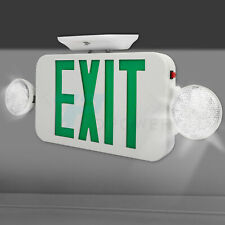 Led Emergency Exit Sign Light With Dual Light Back Up Battery Green Letter Ul924