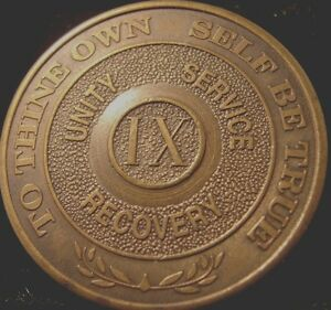Alcoholics Anonymous AA 9 Year Bronze Medallion Token Chip Coin Sobriety Sober