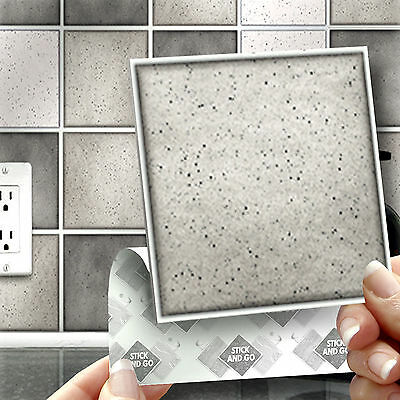 18 Grey Speckle Stick On Self Adhesive Wall Tile Stickers For Kitchen & Bathroom
