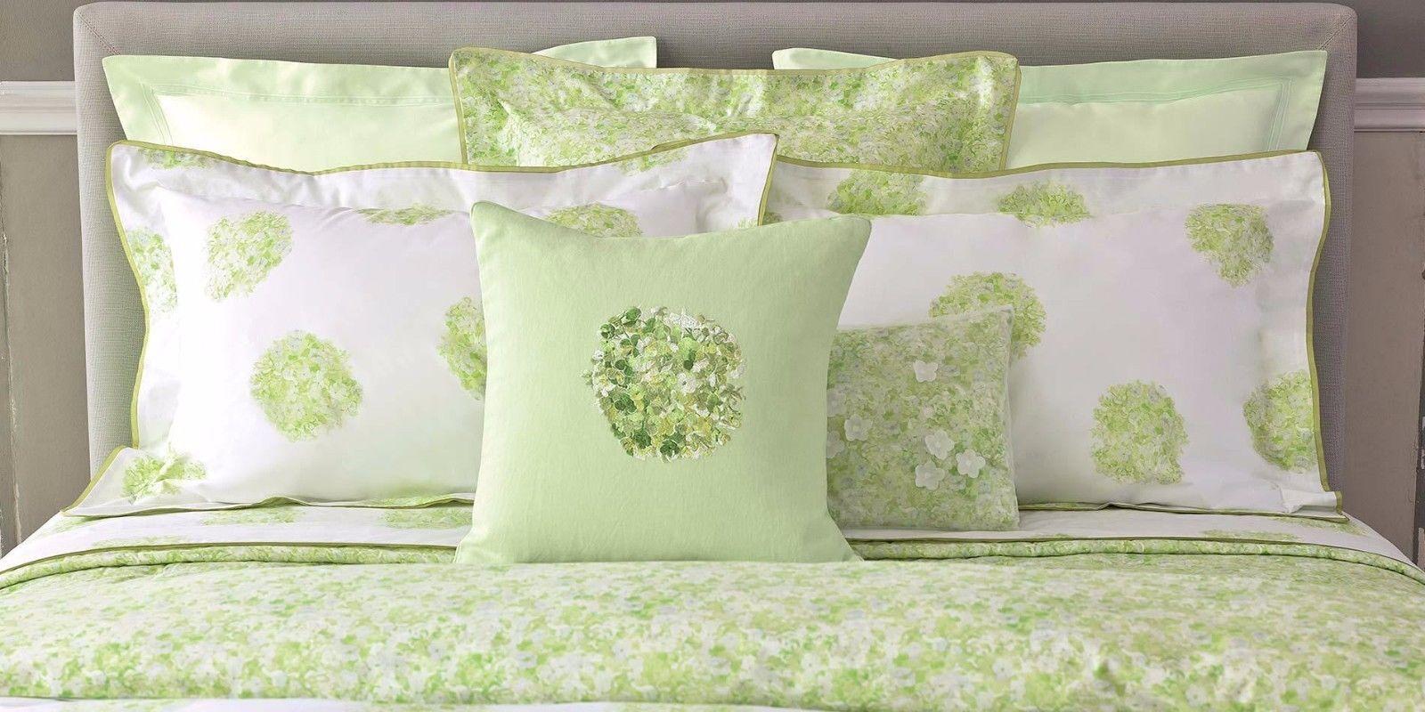 Yves Delorme Etreverde bianca & verde Duvet, Sheet, Euro,Standard Sham Pillow