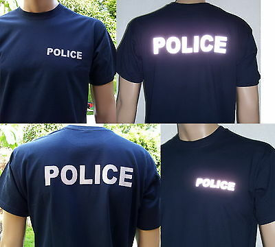 POLICE T-Shirt in marineblau (navy blue) / Text in 2 Farb-Varianten, S bis 3XL