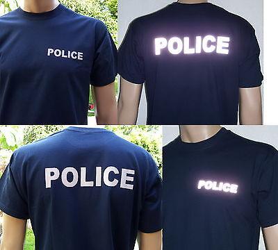 POLICE T-Shirt in marineblau (navy blue) / Text in 2 Farb-Varianten, S bis 3XL