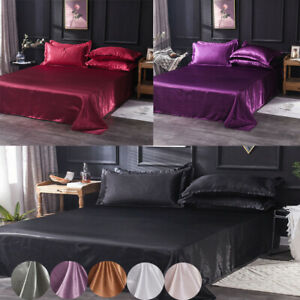 Satin-Silk-Flat-Bed-Sheet-Quilt-Cover-Pillowcase-Solid-Colour-Bedding