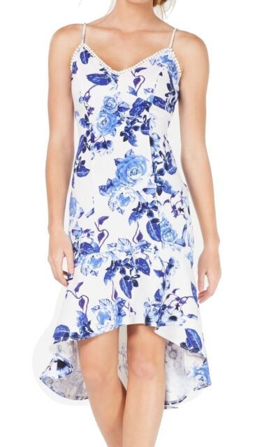 Jump Apparel Women's Dress Blue White Size XXS Sheath Floral High-Low $69 #185
