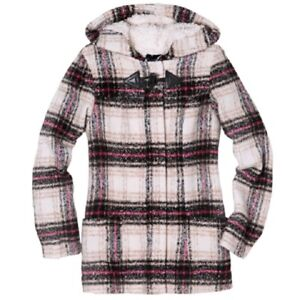 Details about Thakoon Hooded Plaid Flannel Coat Jacket Faux Sherpa Fur Lined Women's XS