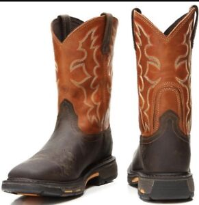 e92c3476f36 Details about New Ariat Workhog Wide Square Soft Toe Boot - Men's Size 9.5  - Brown/Orange